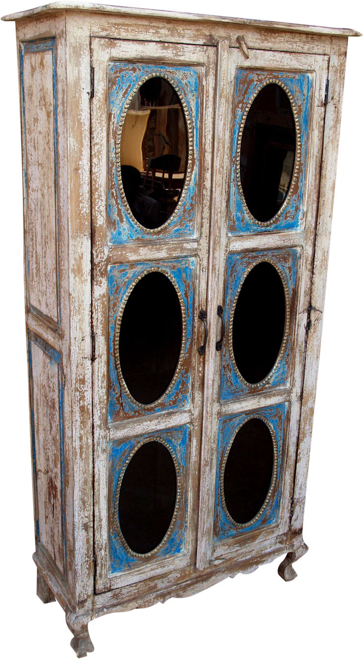 Vitrinenschrank blau-weiß:  Esszimmer von Guru-Shop,