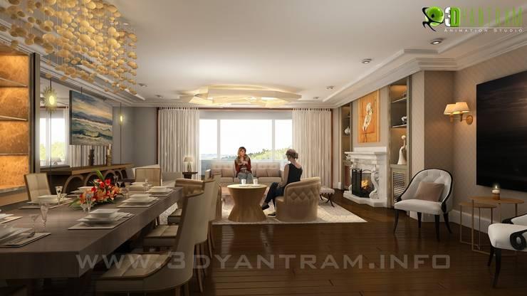 Living Room Interior Design Rendering:  Living room by Yantram Architectural Design Studio