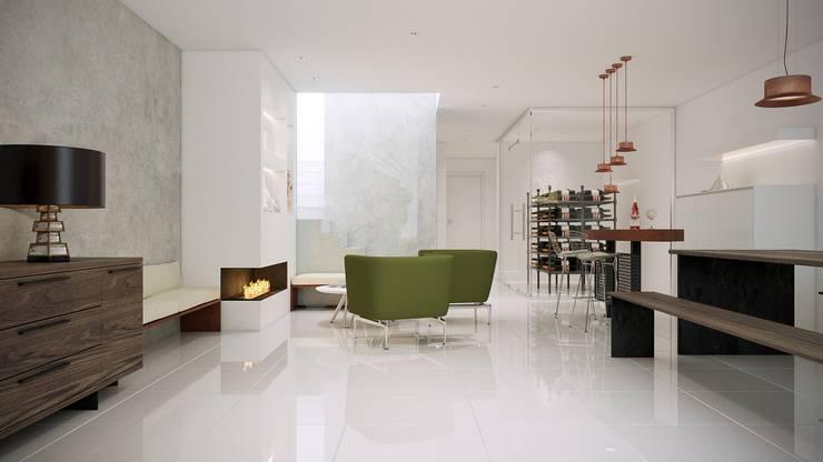 Vista fondo sala multiusos: Bodegas de estilo  de Gramil Interiorismo II - Decoradores y diseñadores de interiores