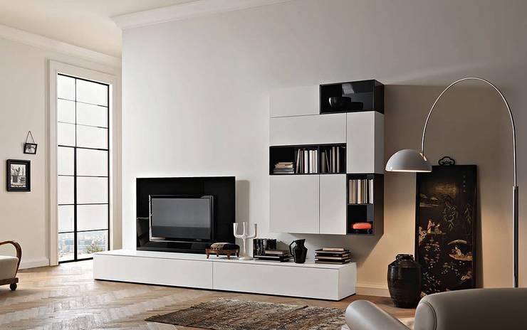 Wohnwand Lampo L2-30: moderne Wohnzimmer von Wohnstation