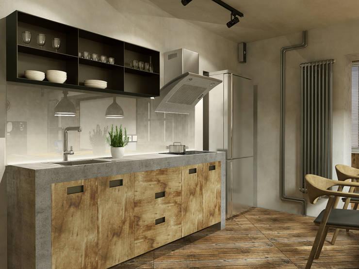 Лофт на одного (38 кв.м.): Кухни в . Автор – Aleksey Bereznyak