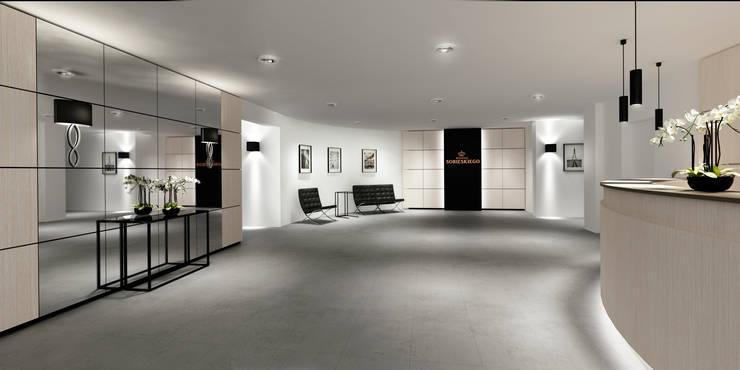 Recepcja os.Sobieskiego, Wwa: styl , w kategorii Hotele zaprojektowany przez dziurdziaprojekt,Nowoczesny