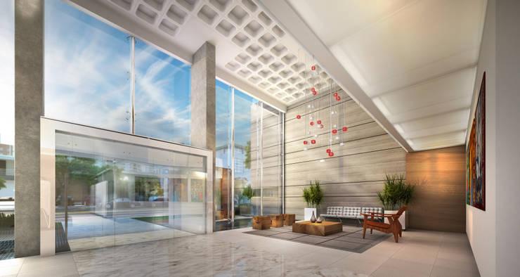 Hall de entrada: Casas  por Mantovani e Rita Arquitetura