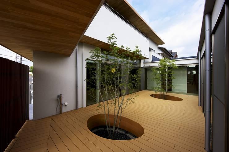 中庭を回遊する家: 長坂篤建築研究所が手掛けた庭です。,モダン