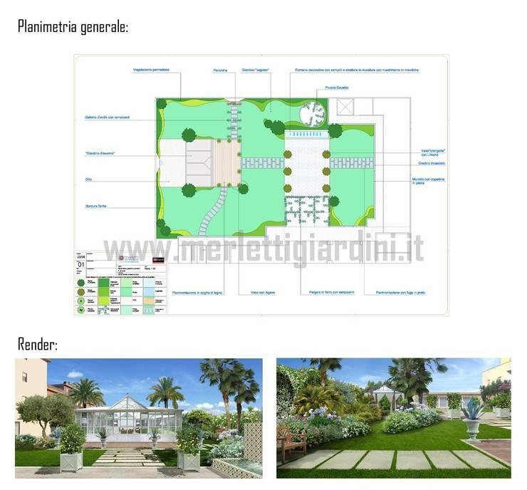 Attico con giardino d'inverno: Giardino in stile  di Merletti Garden Design