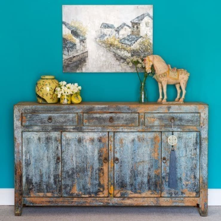 Grey Painted Distressed Dongbei Sideboard c.1930:  Living room by Orchid