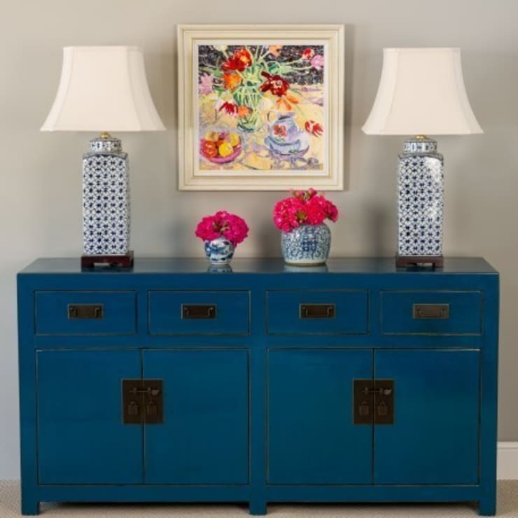 Teal Lacquer Sideboard:  Living room by Orchid