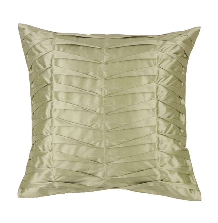 Hand Pleated Celadon Silk Cushion:  Living room by Le Cocon