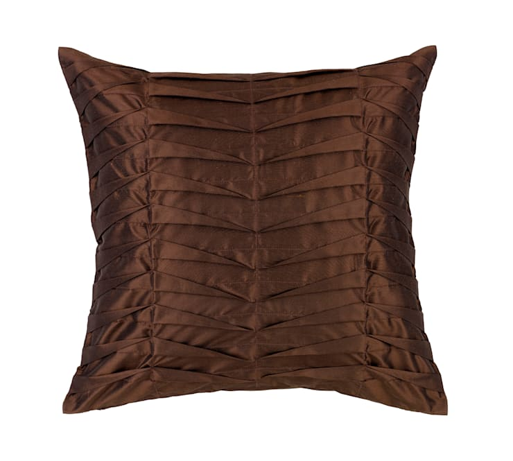 Hand Pleated Mocha Silk Cushion:  Living room by Le Cocon