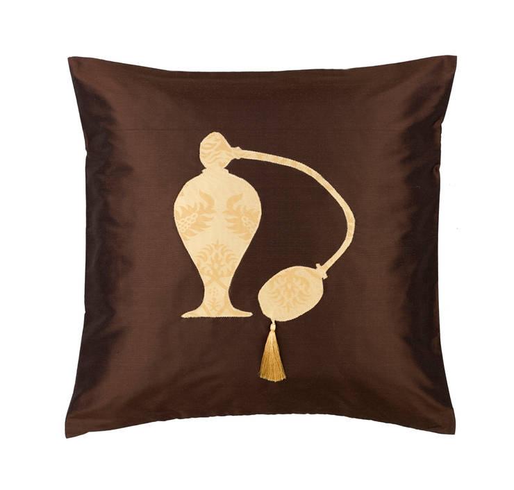 Vintage Perfume Spray Handmade Silk Cushion:   by Le Cocon