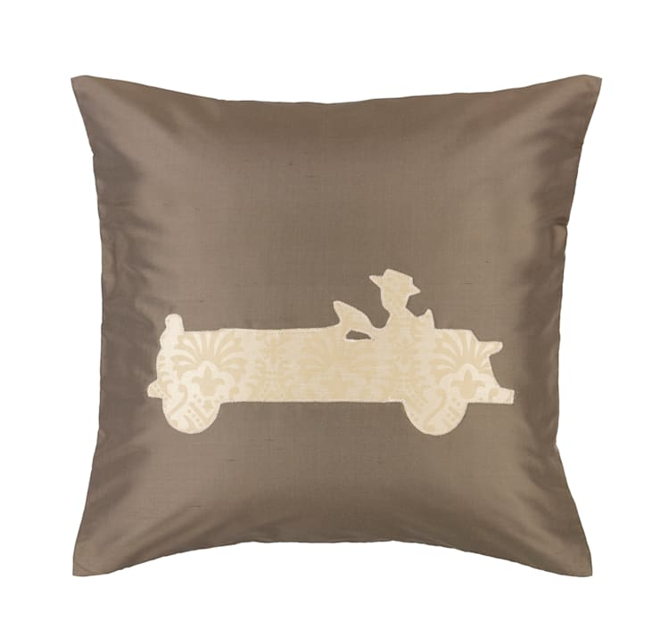 Vintage Old Timer Handmade Silk Cushion:   by Le Cocon