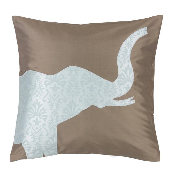 Elephant Handmade Silk Cushion:  Living room by Le Cocon