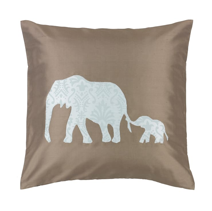 Elephant Duo Handmade Silk Cushion:  Living room by Le Cocon