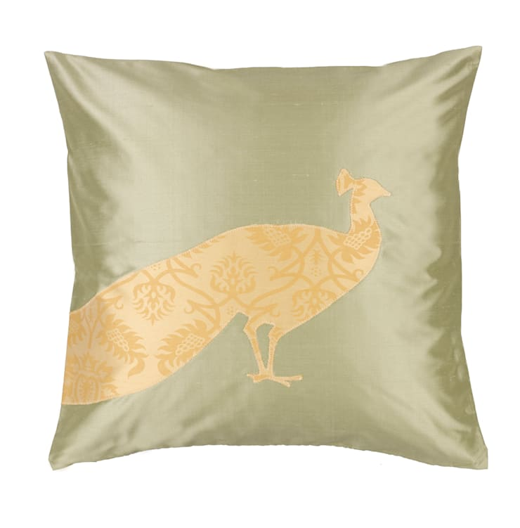 Peacock Handmade Silk Cushion:  Living room by Le Cocon