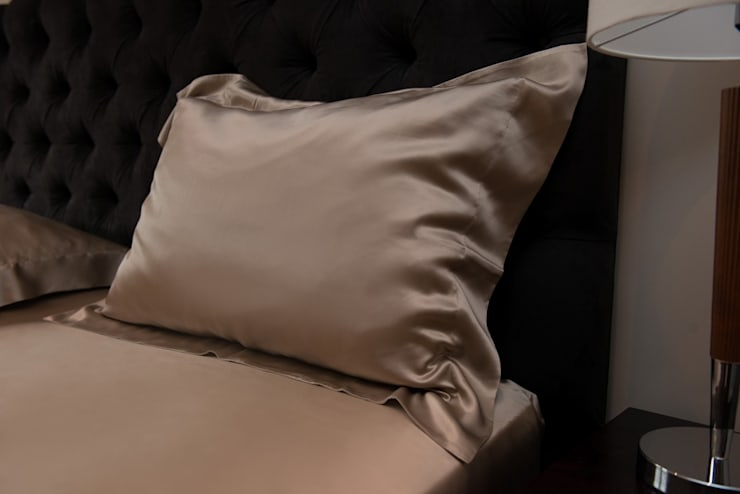 Taupe Silk Pillowcase:  Bedroom by Le Cocon