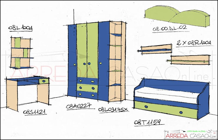 La cameretta verde e blu di Amedeo Francesco: Camera da letto in stile  di ARREDACASAOnLine, Moderno
