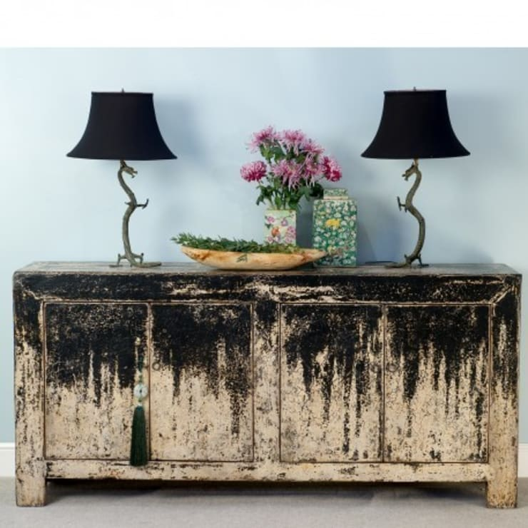 Green Distressed Sideboard. c.1950 Dongbei Province :  Living room by Orchid