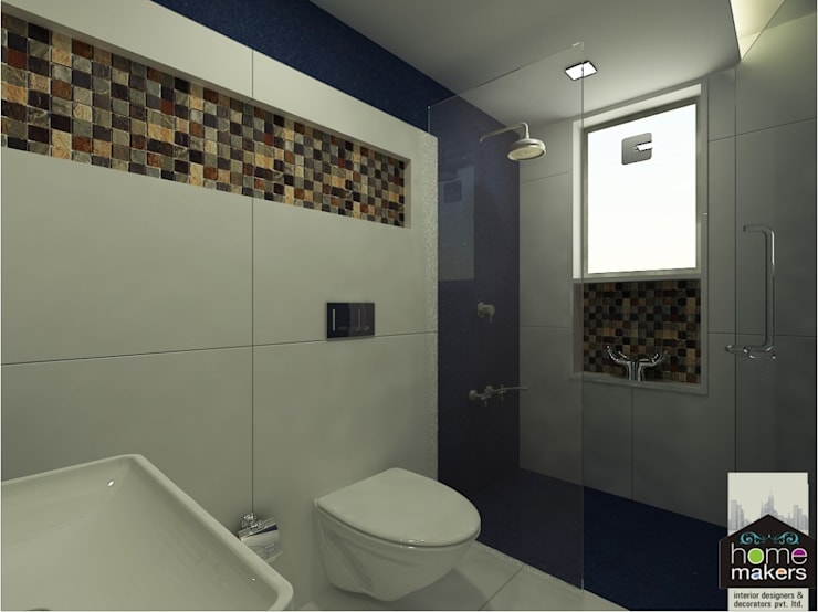 Blue Bathroom 2:  Bathroom by home makers interior designers & decorators pvt. ltd.