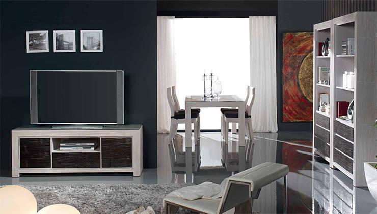 Meuble TV blanc et wenge en bambou Indah: Salon de style  par Art Bambou
