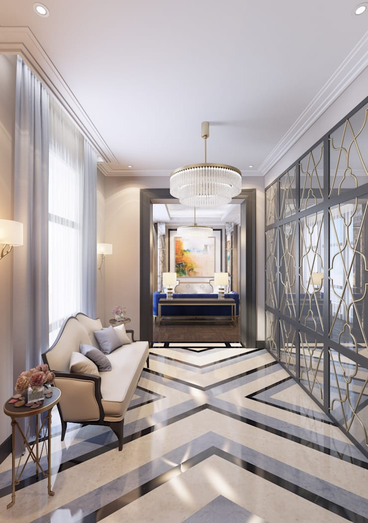 Апартаменты TriBeCa в стилистике Ар Деко: Коридор и прихожая в . Автор – Anna Clark Interiors, Классический