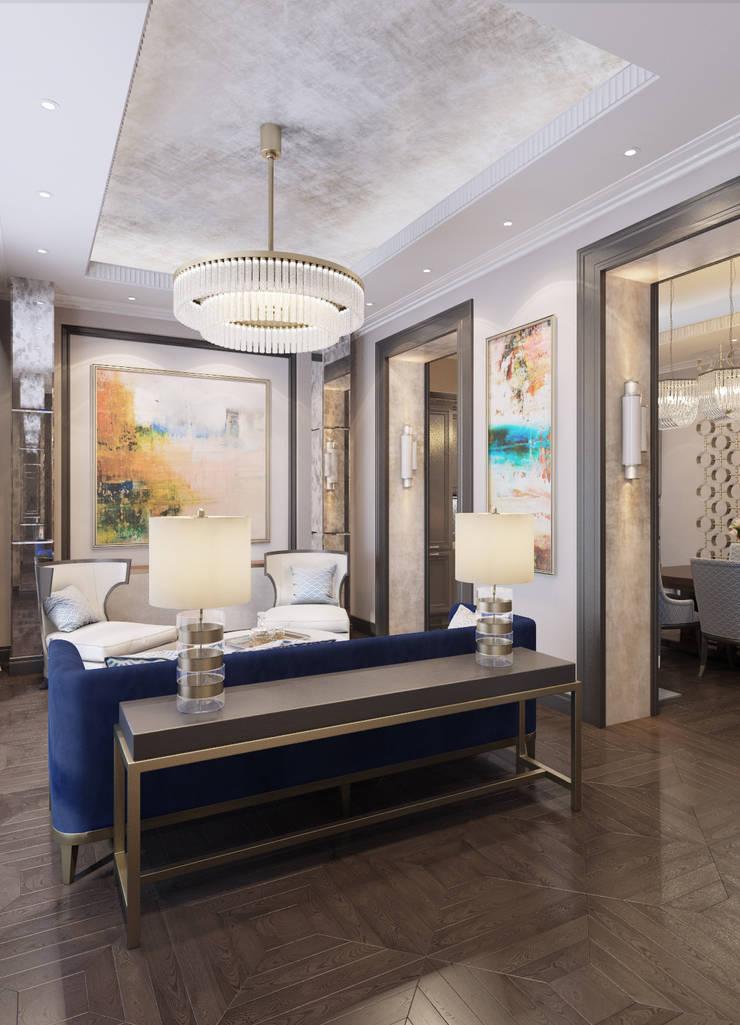 Апартаменты TriBeCa в стилистике Ар Деко: Гостиная в . Автор – Anna Clark Interiors, Классический