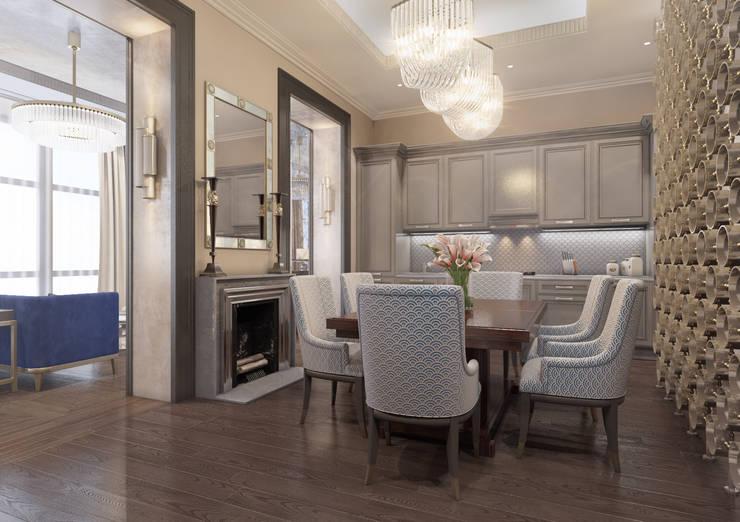 Апартаменты TriBeCa в стилистике Ар Деко: Кухни в . Автор – Anna Clark Interiors, Классический