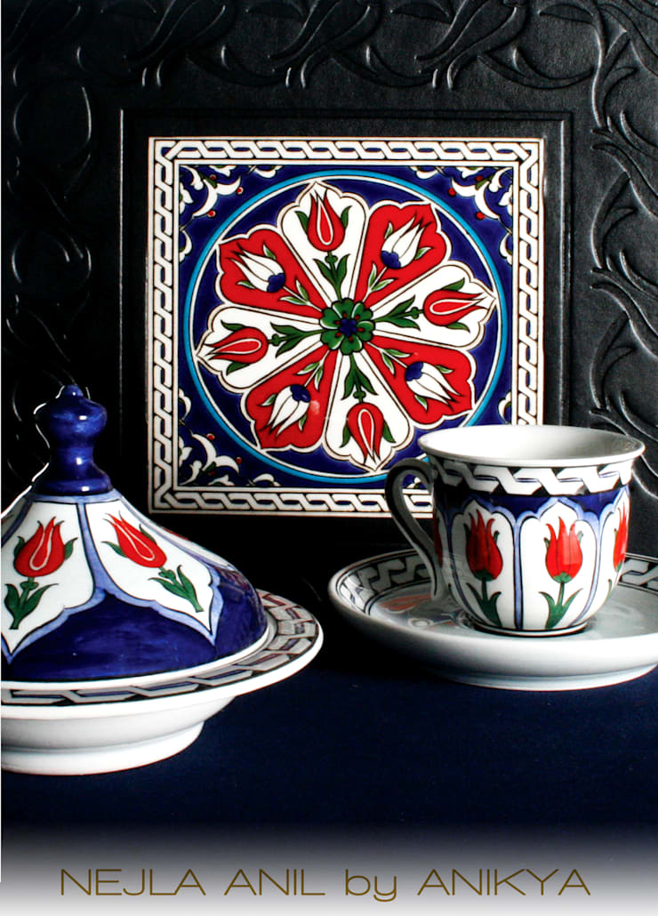 NEJLA ANIL DESIGN – İznik tile Turkish Coffee Set:  tarz Ev İçi