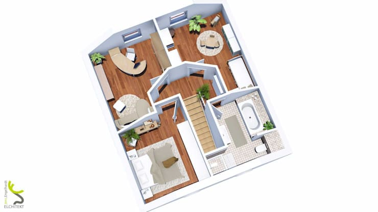 Grundriss Dachgeschoss: modern  von Elchitekt,Modern