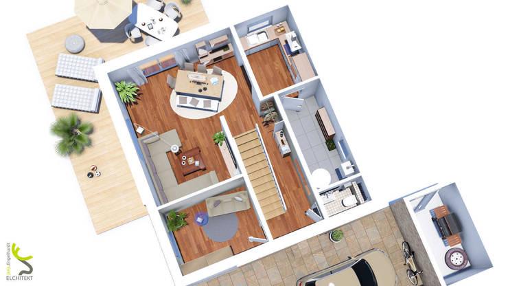 Grundriss Erdgeschoss: modern  von Elchitekt,Modern