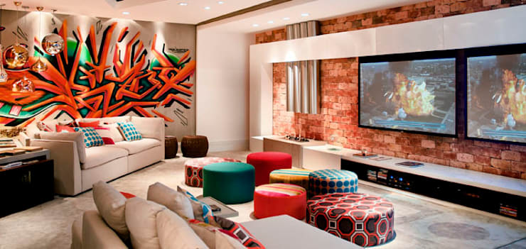 Home Theater CASACOR: Salas multimídia  por Arte do Rizo