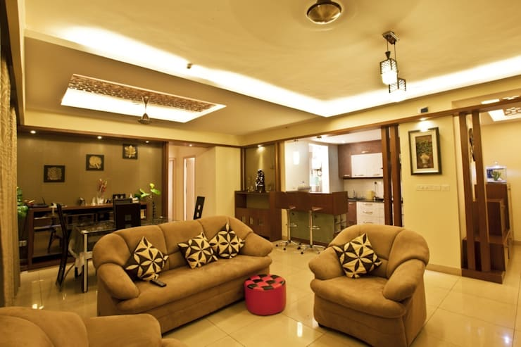APARTMENT - ELITA PROMENADE:   by Creative Axis Interiors Pvt. Ltd.