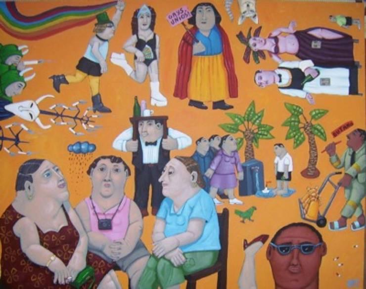 """""""3 gays unio"""" 92 x 73cm:  de style  par Peintre Blanchard"""