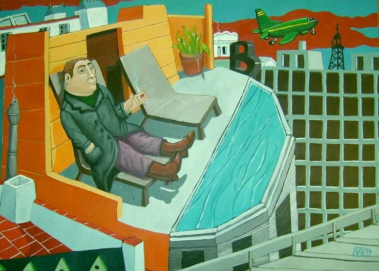 """""""hostal Barcelo"""" 70 x 50cm:  de style  par Peintre Blanchard"""