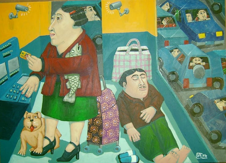 """""""banco"""" 70 x 50cm:  de style  par Peintre Blanchard"""