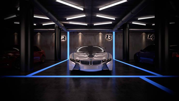 estancia efímera para exposición de coches, por ibu3D: Ferias de estilo  de Ibu 3d