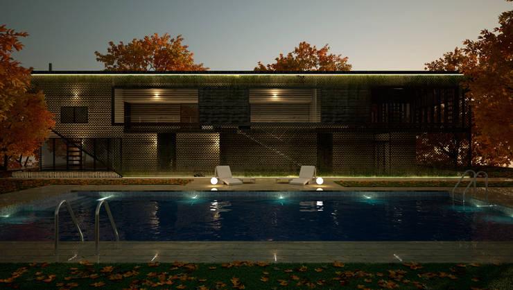 Vivienda con piscina exterior:  de estilo  de Ibu 3d