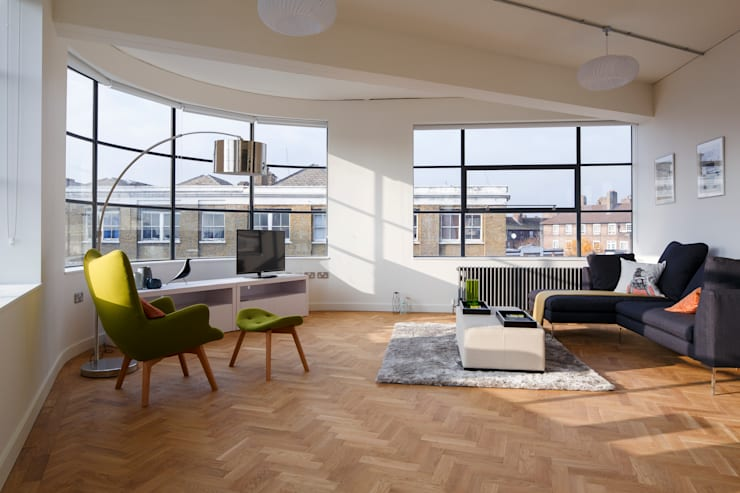 Drakes Headquarters, 76 East Road—Residential Flats:  Living room by Hawkins/Brown