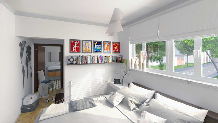 Dormitorio para vivienda unifamiliar 3D:  de estilo  de Icaras 3D