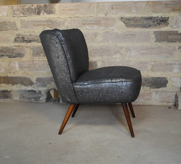 Gun Metal Boucle 1950's Cocktial Chair:  Living room by Sketch Interiors