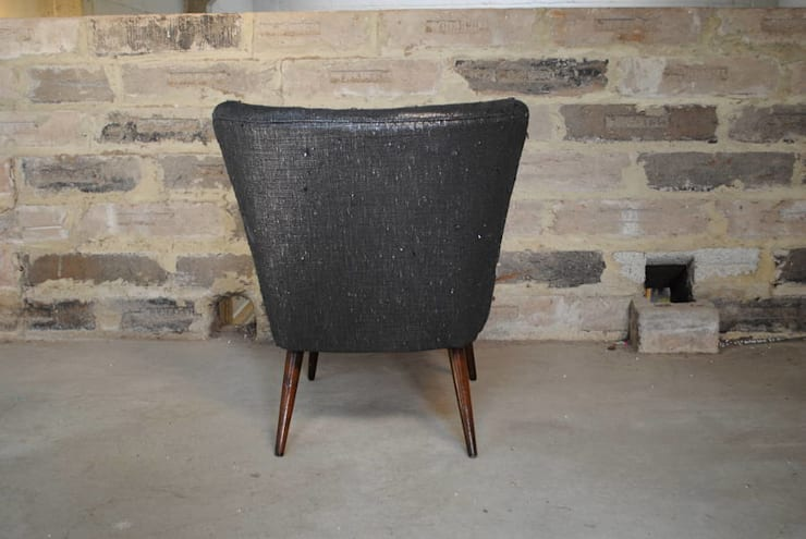 Gunmetal Boucle 1950's Cocktail Chair:  Living room by Sketch Interiors