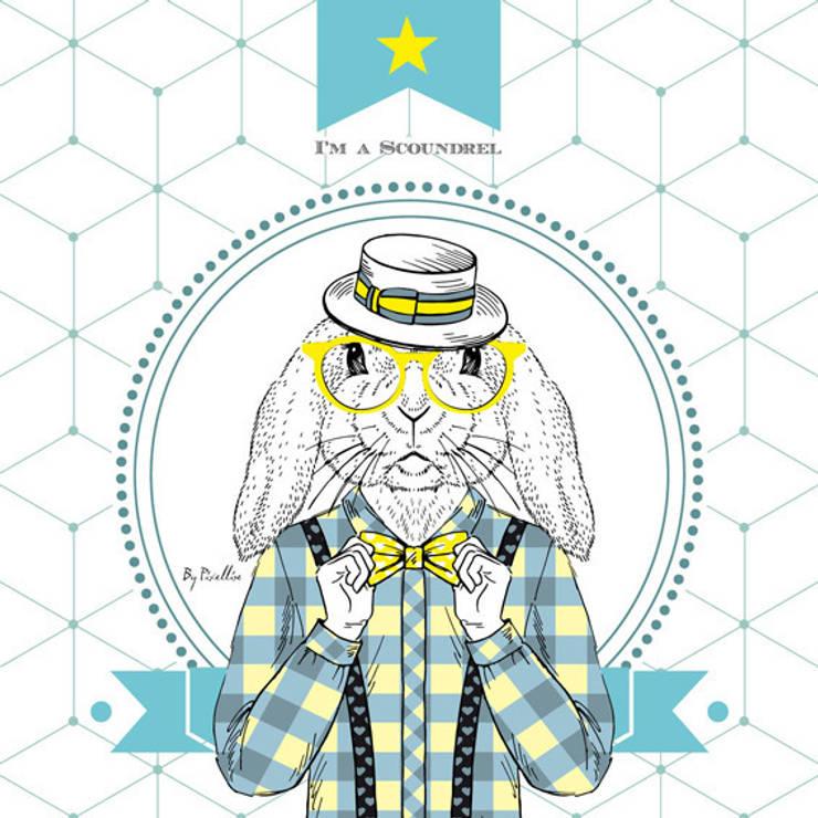 """Tableau """" I am a Scoundrel"""": Chambre d'enfants de style  par BY PIXELLISE"""
