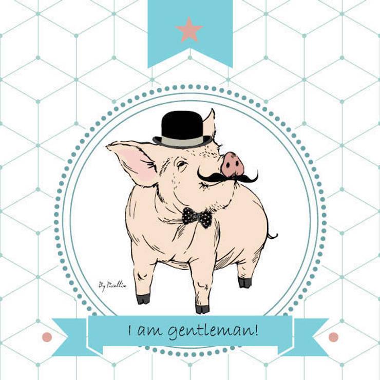 """Tableau banbin """"I am a Gentleman"""" rigolo: Chambre d'enfants de style  par BY PIXELLISE"""
