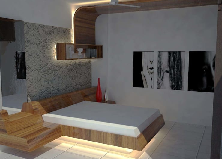 Master bed room:   by Pankaj Mhatre Architects.