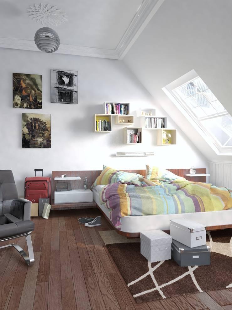 Dormitorio 3D para vivienda unifamiliar:  de estilo  de Icaras 3D
