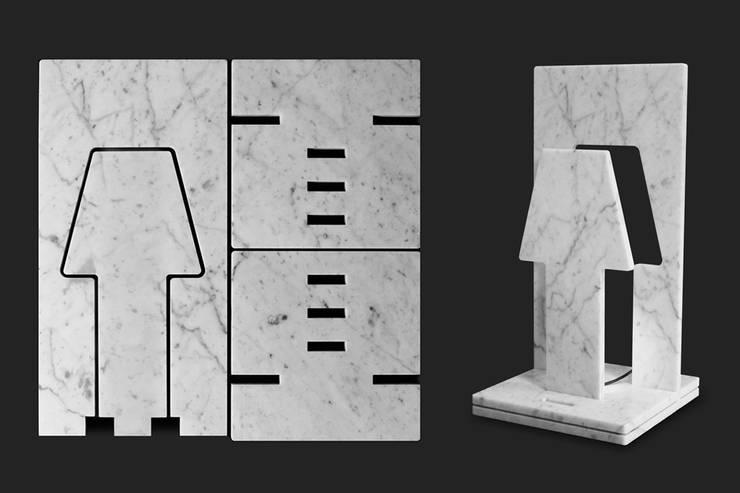 PiùOmeno_LED marble lamp: Casa in stile  di PAOLO ULIAN & MORENO RATTI
