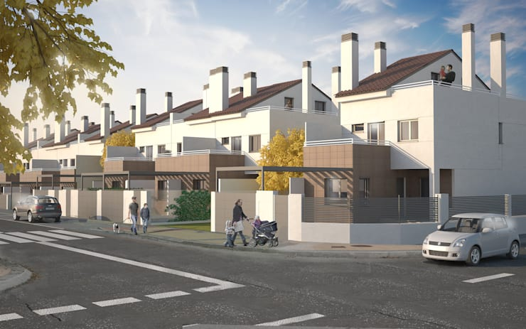 Imagen 3D promoción de viviendas:  de estilo  de Icaras 3D