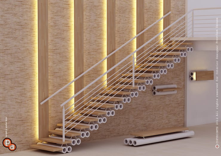 Staircase Design -Pipes:  Corridor & hallway by Preetham  Interior Designer