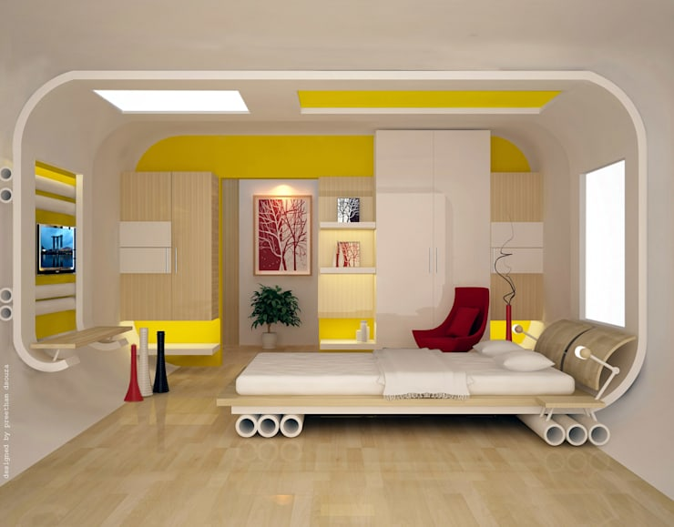 Bedroom design--inspired from skating:  Bedroom by Preetham  Interior Designer