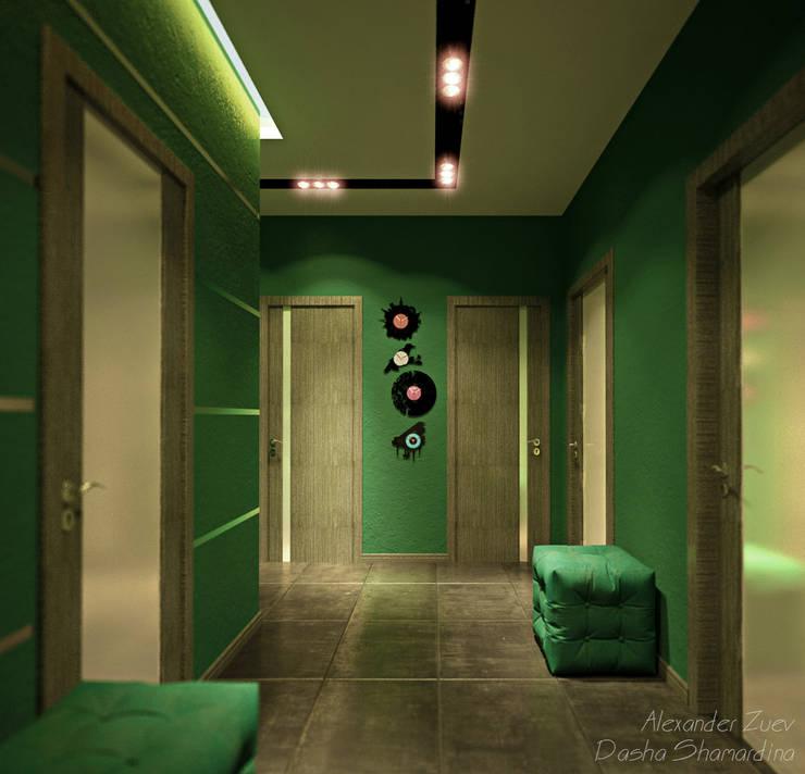 """Дизайн прихожей в современном стиле в ЖК """"Янтарный"""": Коридор и прихожая в . Автор – Студия интерьерного дизайна happy.design,"""