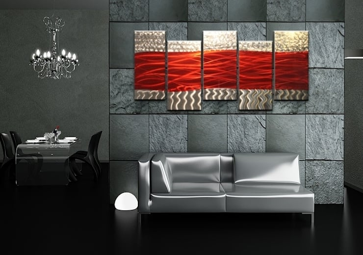 Metal Wall Art Red Waves:  Artwork by Matthew's Art Gallery